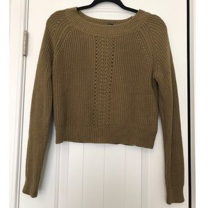 Forever 21 Olive Green Cropped Sweater